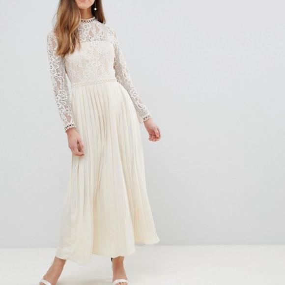 Little Mistress Petite Sheer Lace Top Maxi Dress Boutique